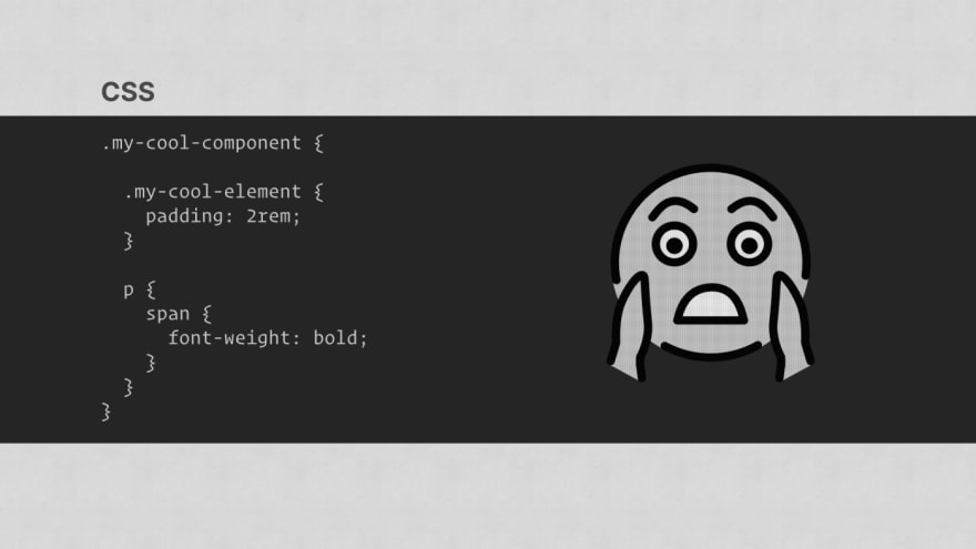 Some CSS code with nesting. A scream emoji is on the right of the screen