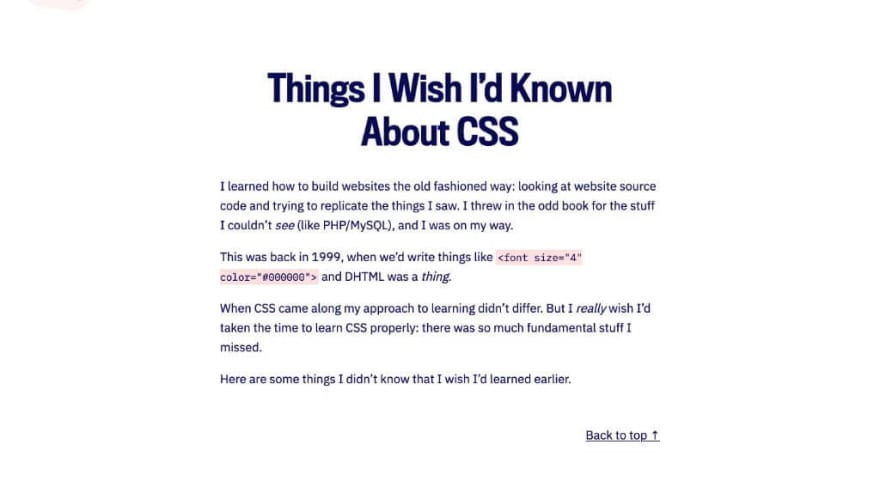 Things I Wish I'd Known About CSS
