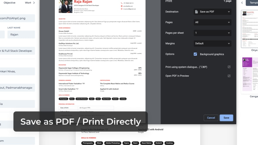 Save as PDF or Print Directly