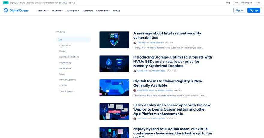 DigitalOcean homepage