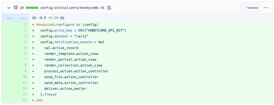GitHub PR diff showing a new file added with the filename config/initializers/honeycomb.rb. The file contents are Rails configuration settings.
