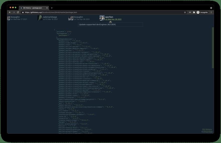 githistory.xyz reactjs package.json file