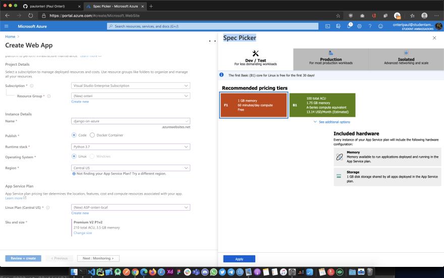 Azure App Service Spec Picker