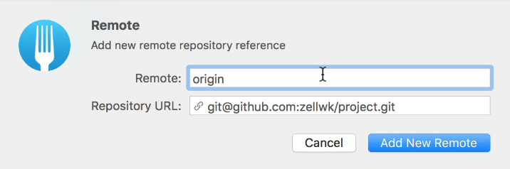 The remote name and url