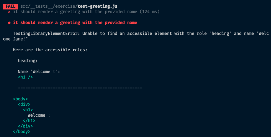 """Similar error message to previous failure, but with a list of accessible roles, including 'heading: Name """"Welcome !""""'"""
