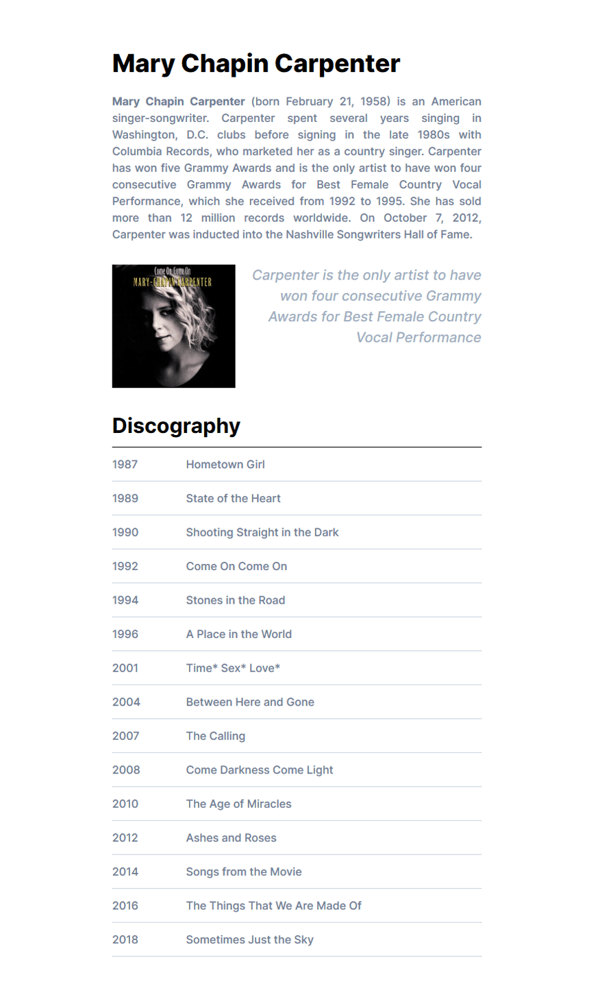 Mary Chapin Carpenter biography created with Inter fonts