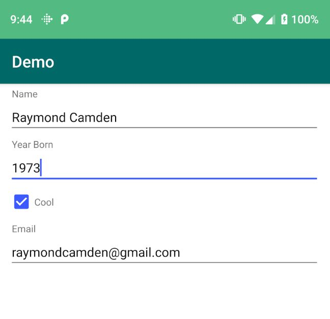 Screenshot of form