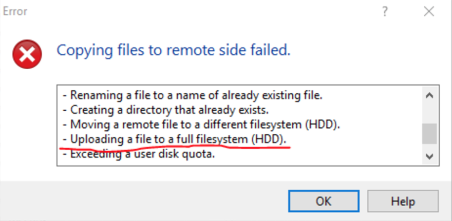 WinSCP Upload Error Window