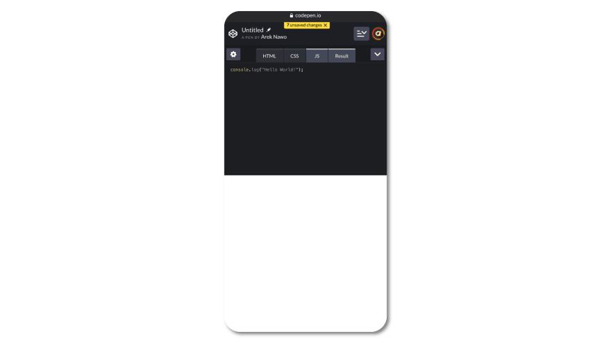 CodePen on mobile Safari