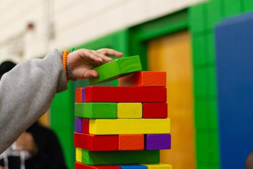 Colourful jenga bricks