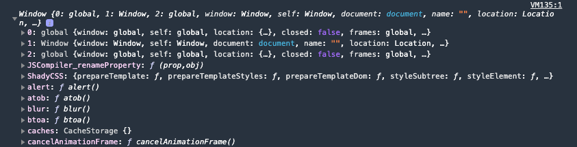 screenshot of window object in browser console