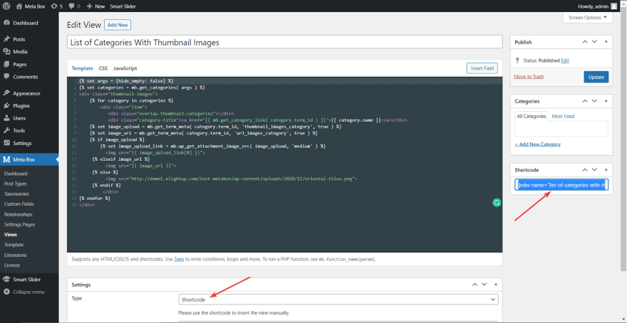 This view will be set in the type of Shortcode so that it will auto-generate a shortcode.