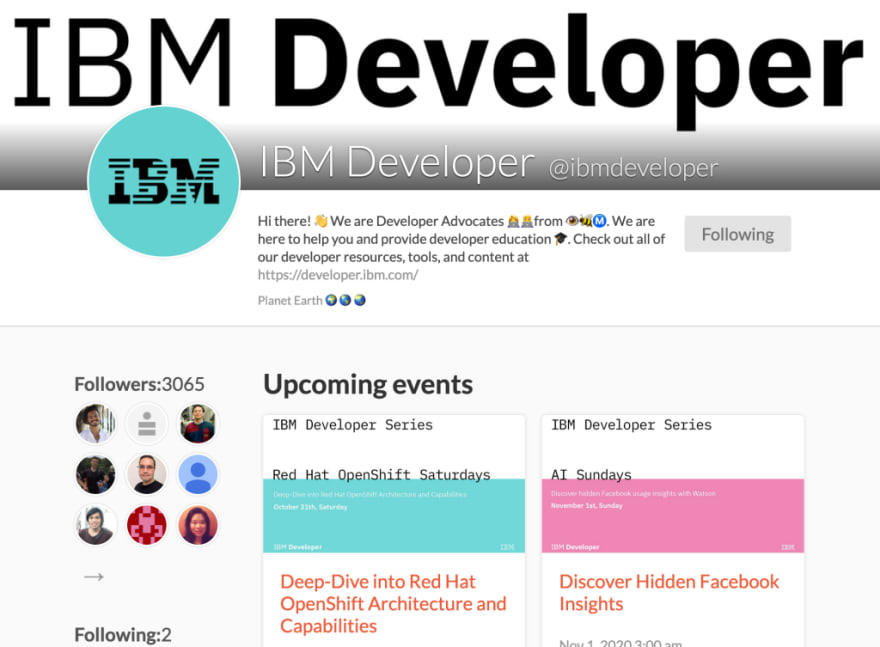 IBM Developer Crowdcast upcoming events page