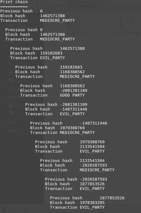 Ten votes stored in a blockchain