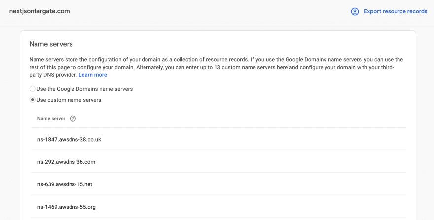Configuring nameservers