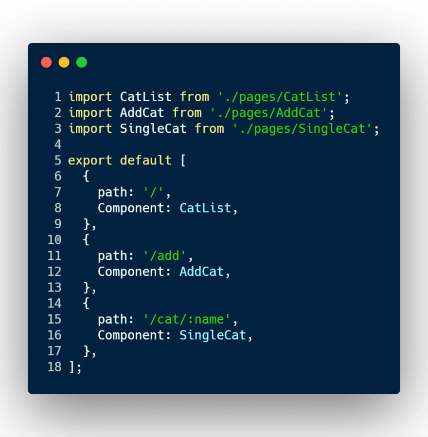 React router config file