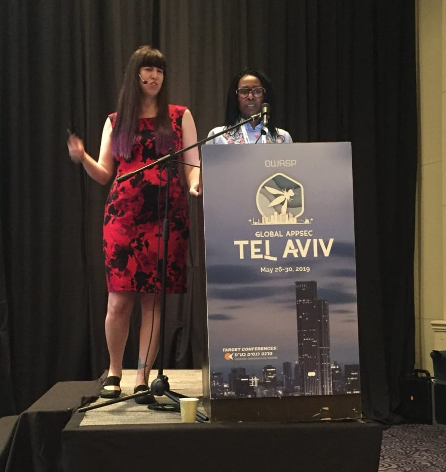 Tanya Janca and Nancy Gariché on stage at Global AppSec