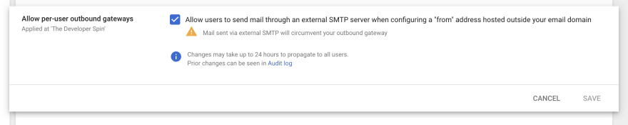 gmail setting in GSuite