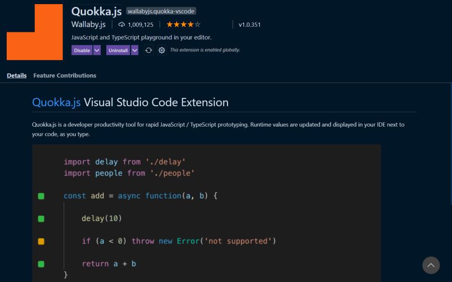 2021-03-19 23_19_50-Extension_ Quokka.js - 02 - Portfolio Site - Visual Studio Code
