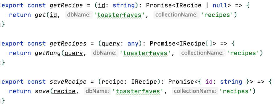recipe db functions