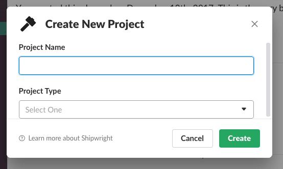 Slack UI Create Project