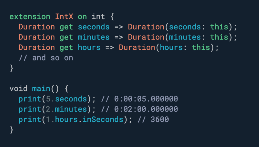 Want a more ergonomic API for working with dates and times? Use extensions.