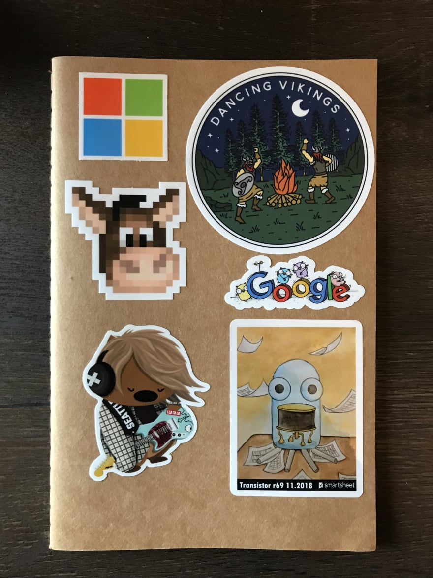 My tech stickers notebook showing the cover