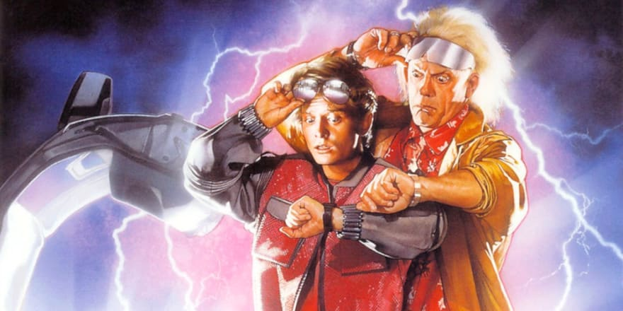 Detail from the movie poster of Back to the Future II