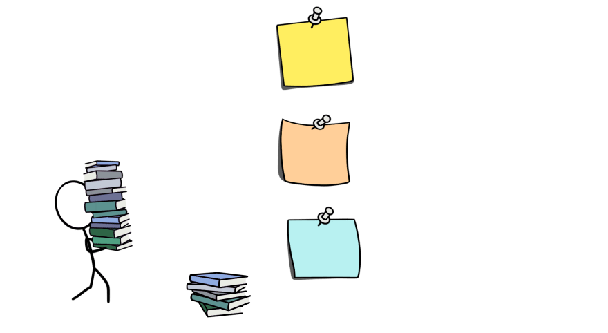 A cartoon of a stick figure carrying books to a wall of post-it notes