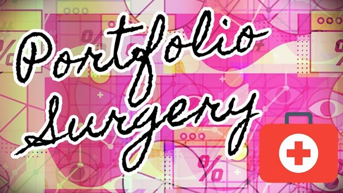 first aid kit graphic with portfolio surgery written in cursive writing