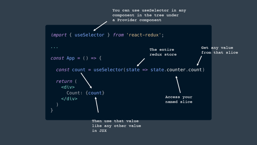 You can use useSelector in any component in the tree under a Provider component. The entire redux store. Access your named slice. Get any value from that slice. Then use that value like any other value in JSX