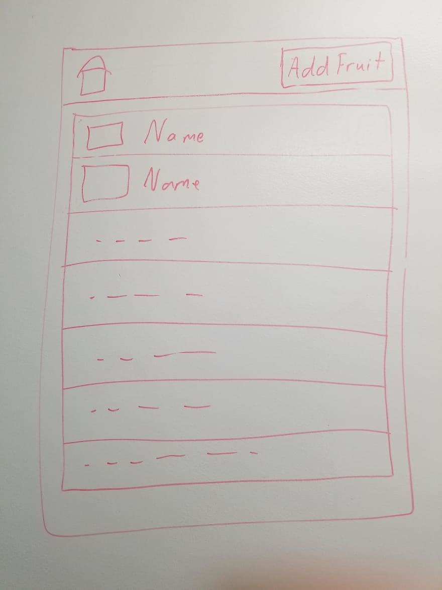 hand-drawn sketch of list of fruits with navbar
