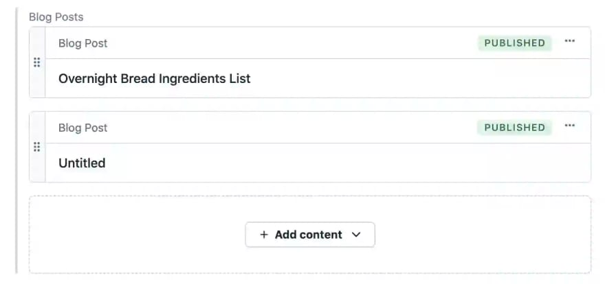 Screenshot of what defining fields in an entry in Contentful looks like