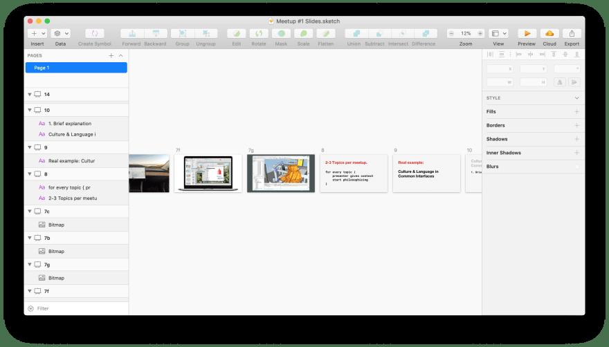 Screenshot of Sketch file for the presentation.