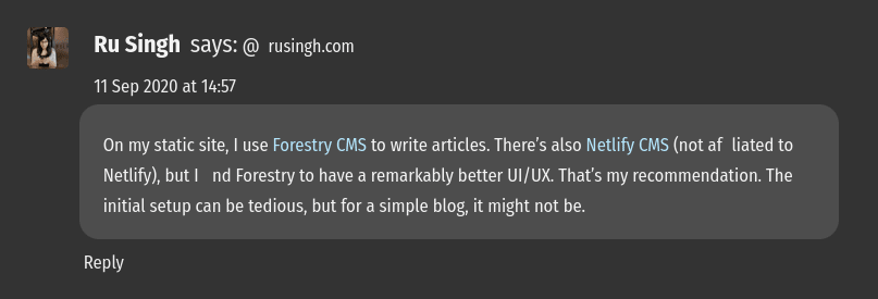 The ligatures on my comment on Kev's site cause the combination of the alphabet f and i to be invisible in both the words 'affiliated' and 'find' -- causing them to render as 'a iliated' and ' nd'