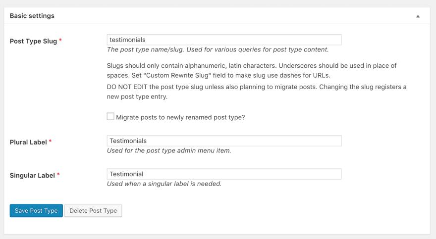 Setting up a custom post type