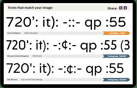 font matcherator results