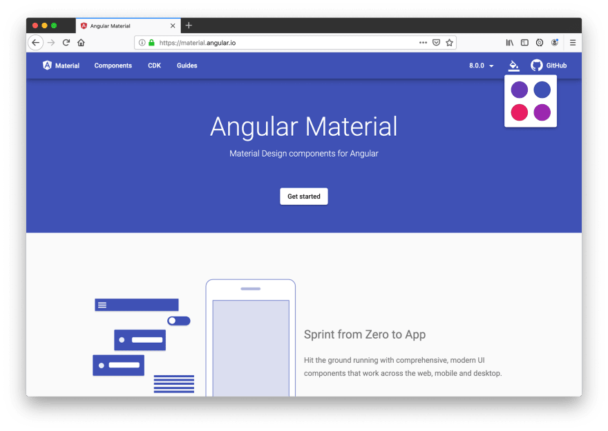 Angular Material Homepage