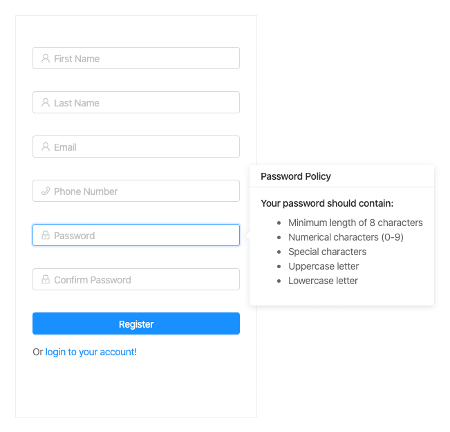 Our App's Signup Container