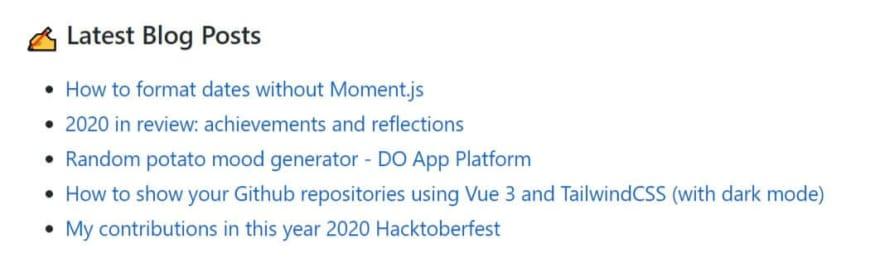 GitHub profile latest blog posts
