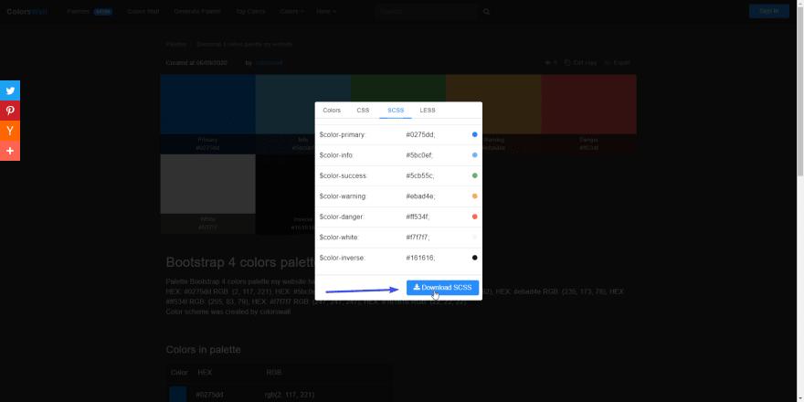 Download SCSS variables button