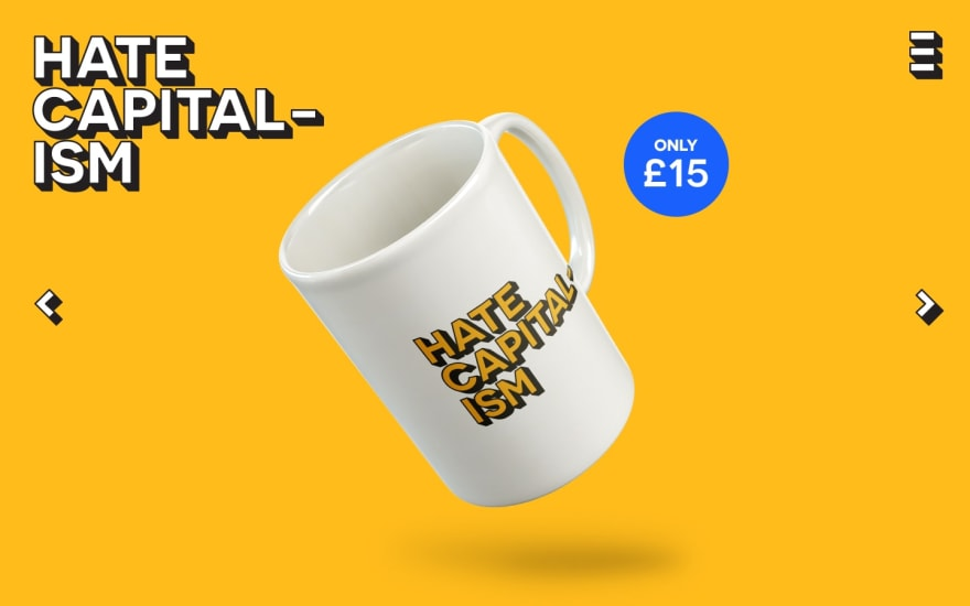 Web page showing mug for sale. It is branded Hate Capitalism