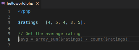 PHP code with comment that shows intent to compute an average