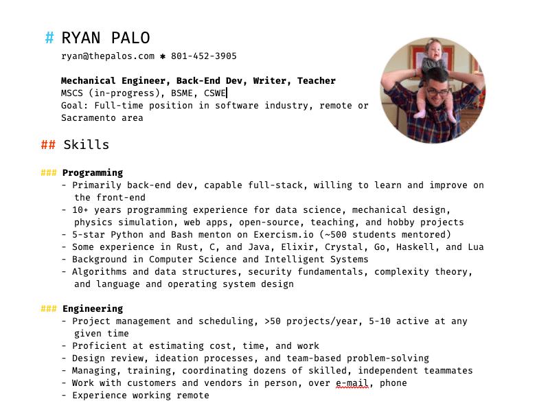 My resume, rev 2, part 1.