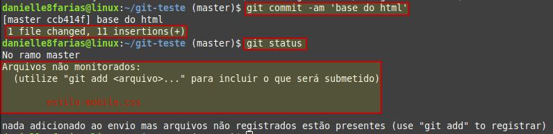 fazendo o commit, através do atalho, do arquivo modificado