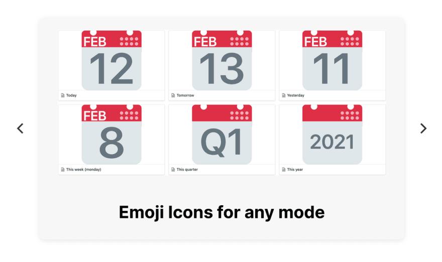 Emoji icon previews in a widget