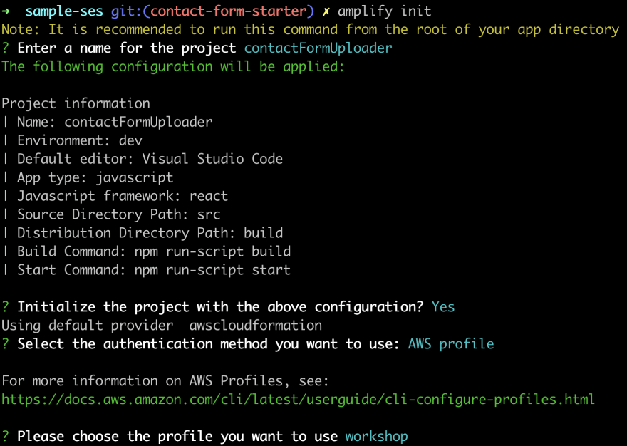 output from going through the Amplify init process