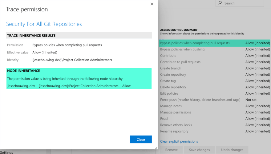 Setting default repository permissions on your Azure DevOps Organization