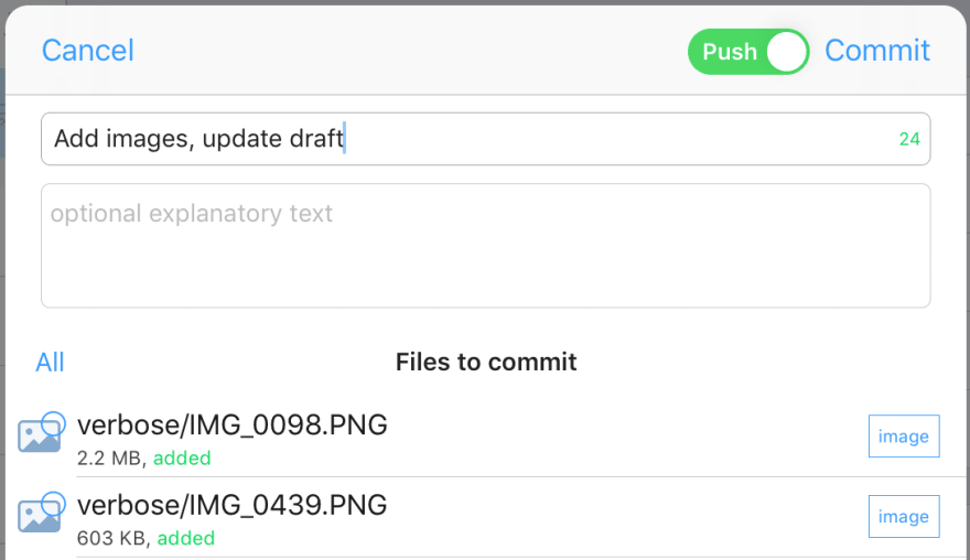 Add a commit message and select files to commit