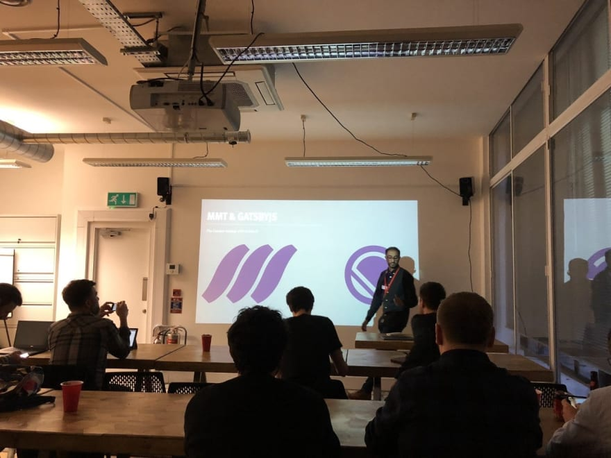Ilesh Mistry presenting at MMT and Gatsby meet-up in London